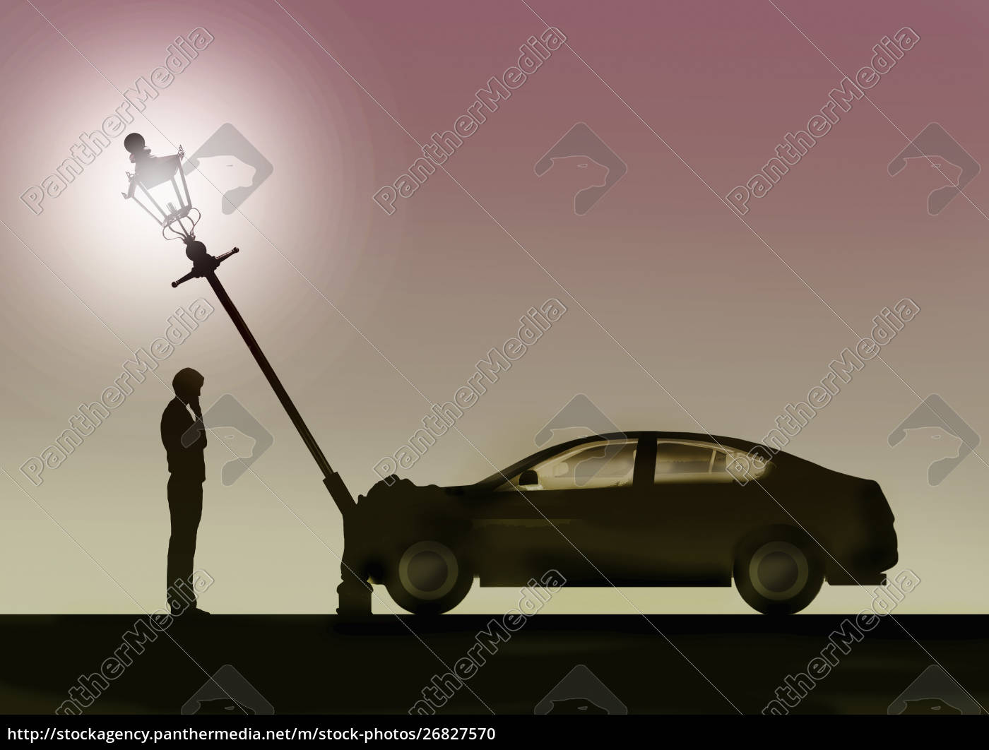 hombre, mirando, accidente, automovilístico, y, poste - 26827570