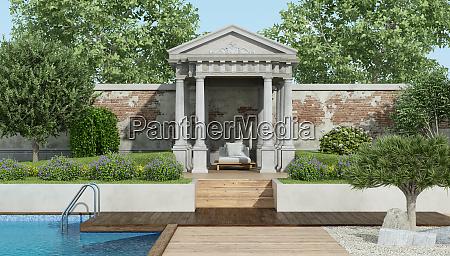 jardin de lujo con pequenyo templo