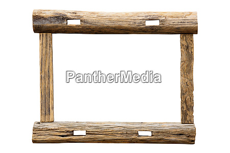 raw wooden picture frame on white