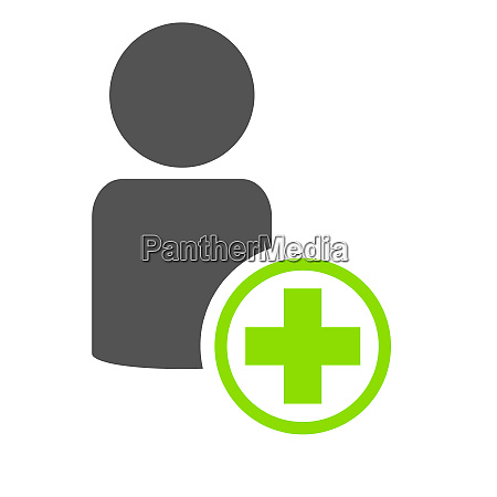 green plus icon with people symbol