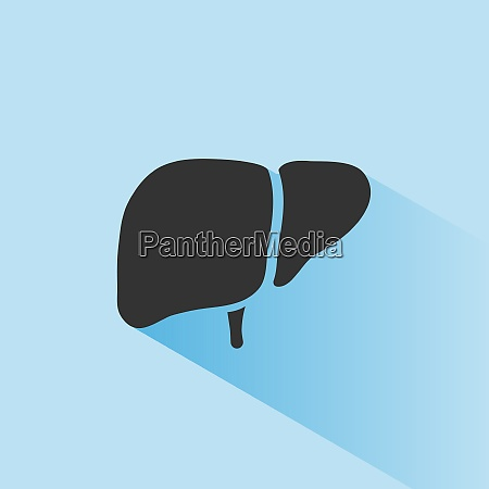 liver icon with shade on blue