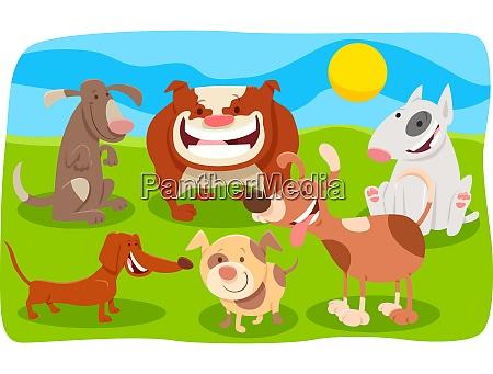 perros mascotas cachorros animales grupo dibujos
