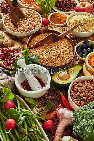 healthy food background with spice and