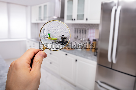 kitchen seen through magnifying glass