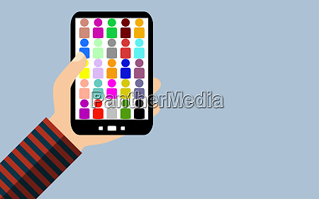 smartphone colorful people icons flat