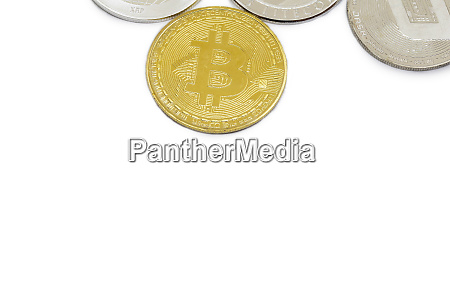 set of cryptocurrencies with a golden