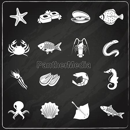 iconos de mariscos pizarra set con