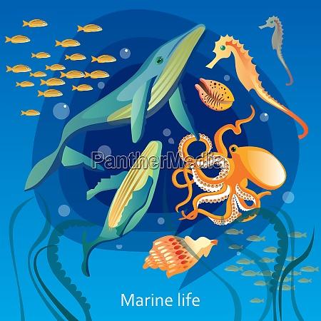 fondo de vida submarina oceanica ilustracion