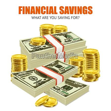 ahorro financiero cartel de composicion de