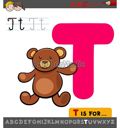 letter t educational worksheet with teddy