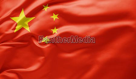 waving national flag of china