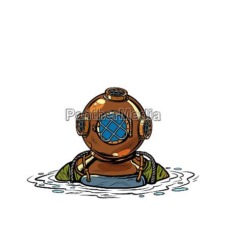 retro buceador de aguas profundas en