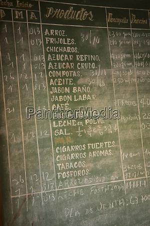 cuba vinales blackboard sign listing foods