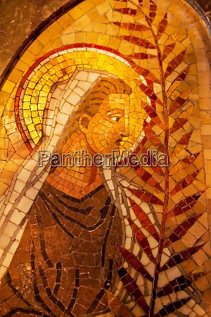 angel palm frond mosaic monastery of
