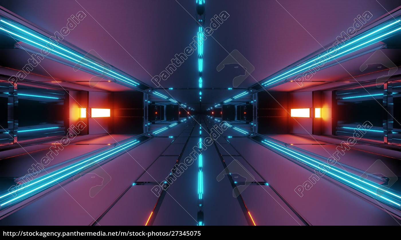 oscuro, futurista, túnel, espacial, corredor, 3d - 27345075