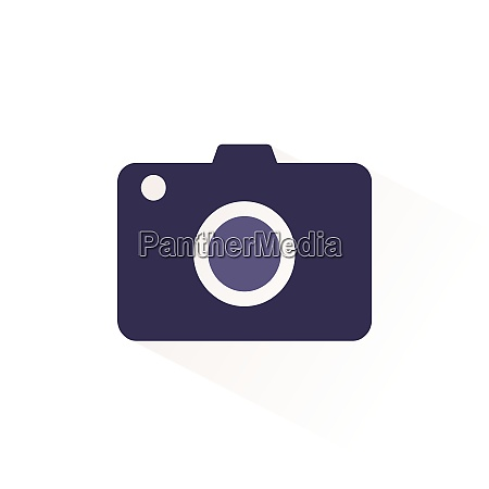 camera icon with shadow flat vector