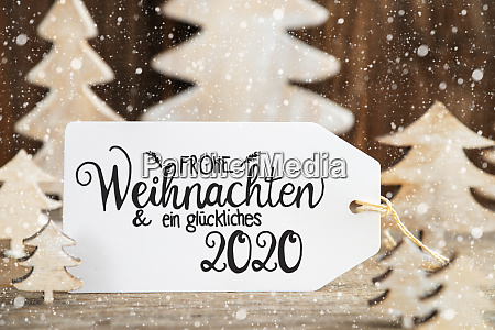 christmas tree label glueckliches 2020 means