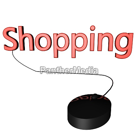 shopping inscription over white with mouse