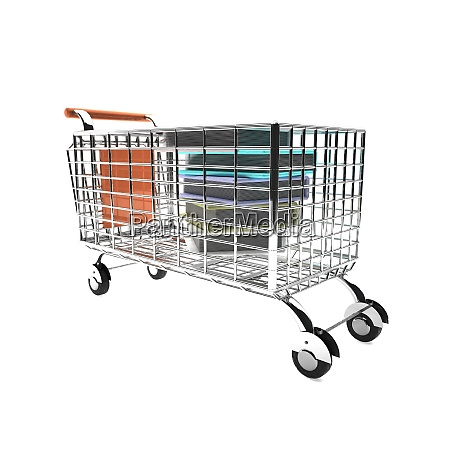 shopping cart with books white background
