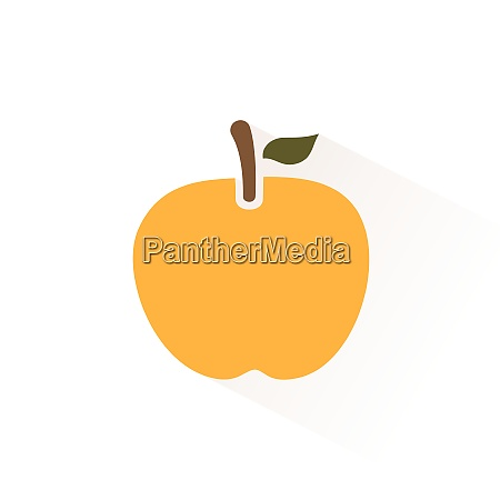 yellow apple icon with shadow flat
