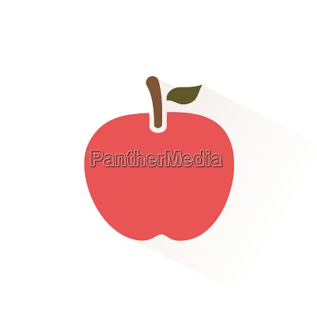 red apple icon with shadow flat