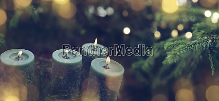 christmas candles with fir tree