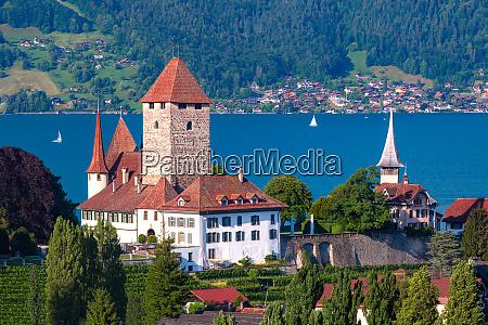 spiez church and castle switzerland