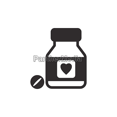 heart pills flat icon pharmacy and