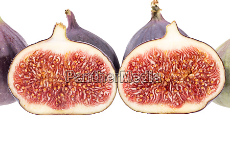 fresh figs half and whole isolated