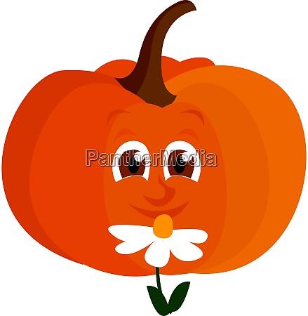 calabaza con flor ilustracion vector sobre