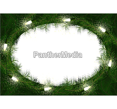 christmas wreath with glowing christmas lights