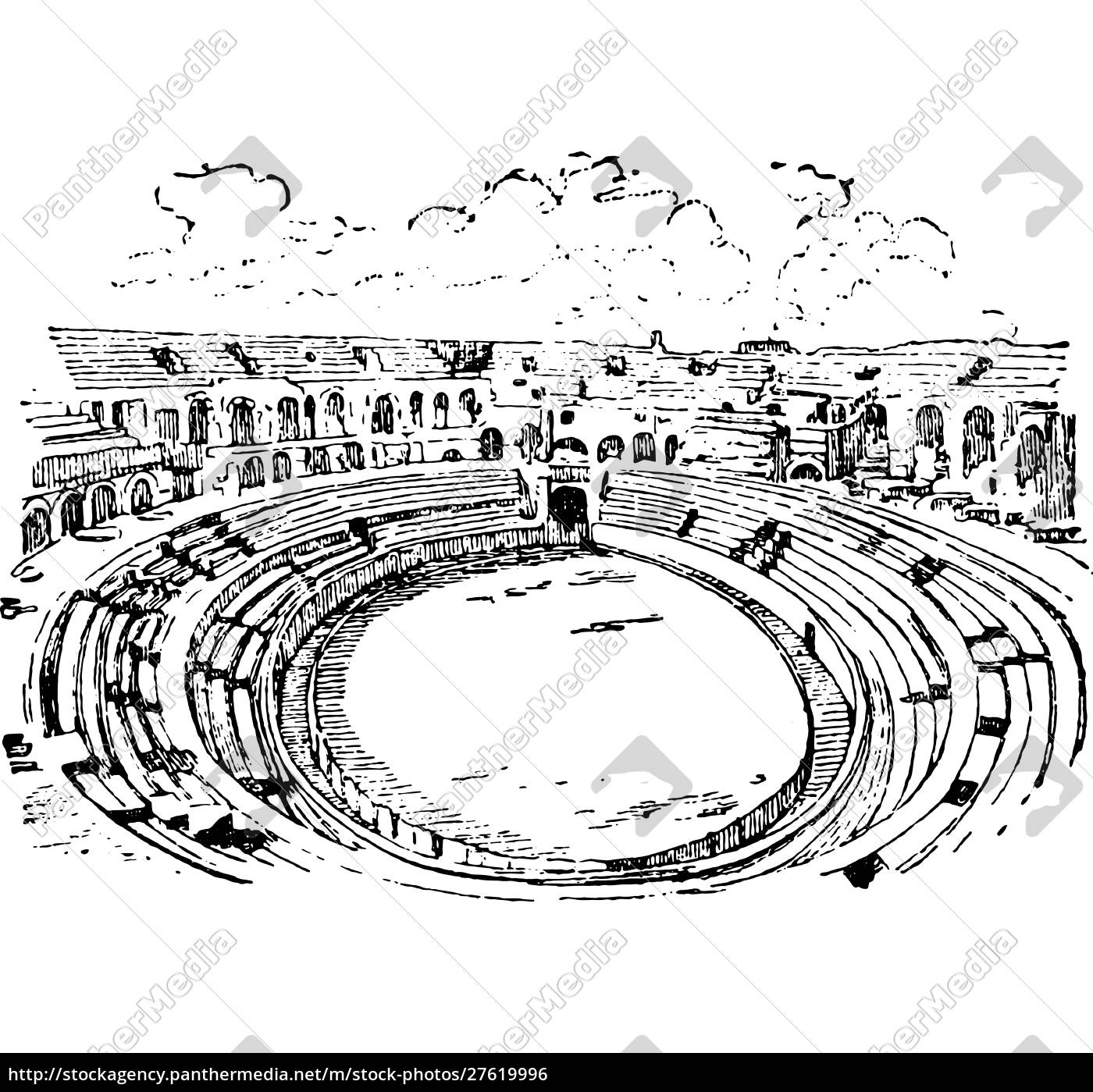 amphitheater, in, nimes, , vintage, engraving. - 27619996