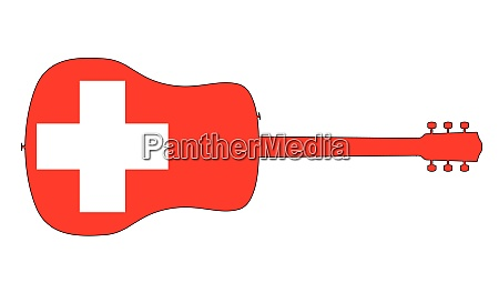 acoustic guitar silhouette with swiss national
