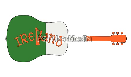 acoustic guitar silhouette with ireland national