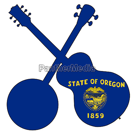 oregon state flag banjo and guitar