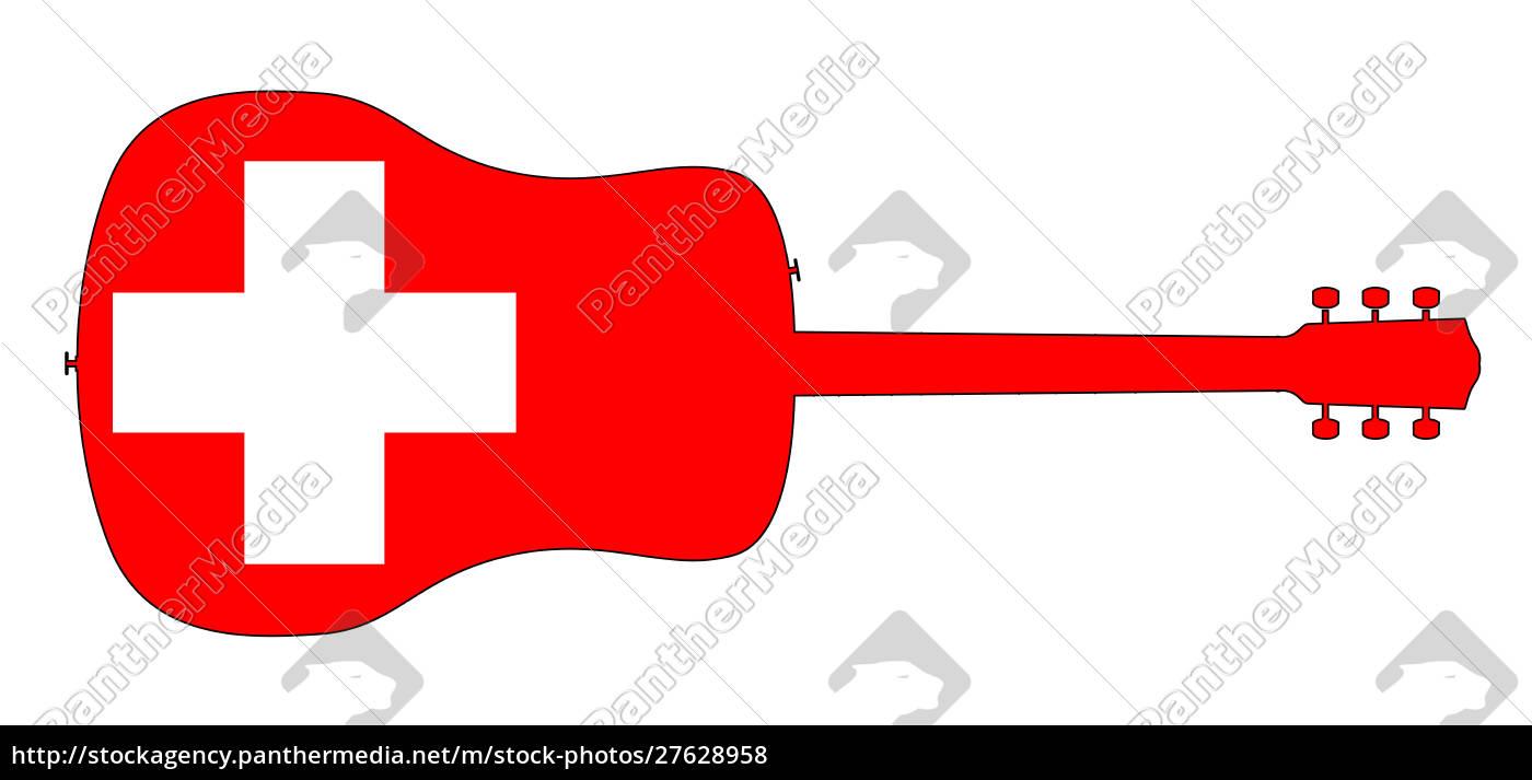 silueta, de, guitarra, acústica, con, bandera - 27628958