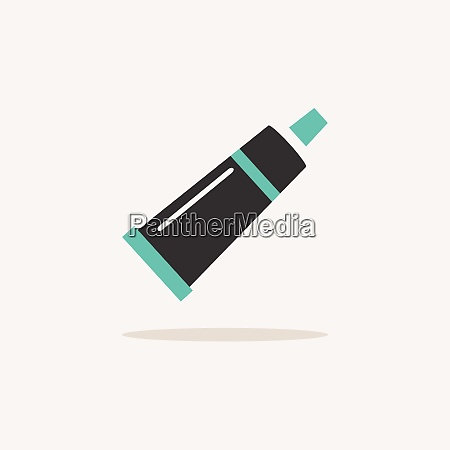 cream tube icon with shadow on