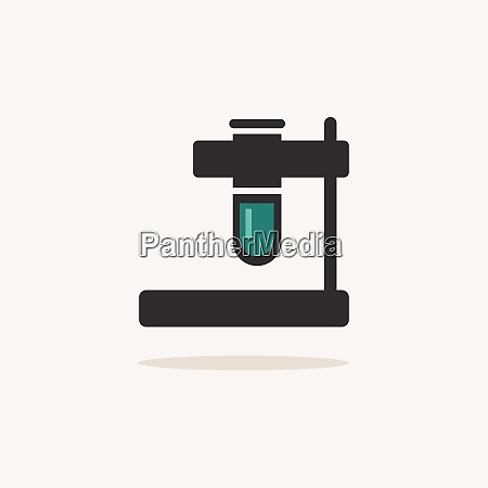test tube icon with shadow on