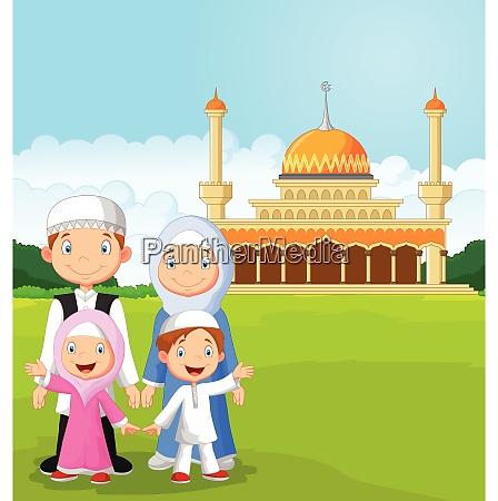 cartoon familia musulmana feliz