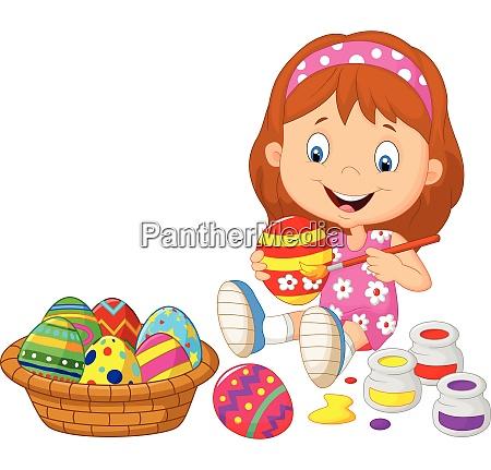 ninya pintando un huevo de pascua