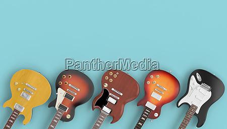 coleccion de guitarras sobre fondo azul
