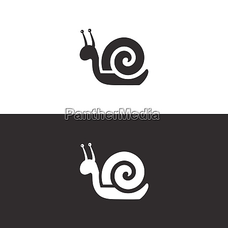 snail icon on black and white
