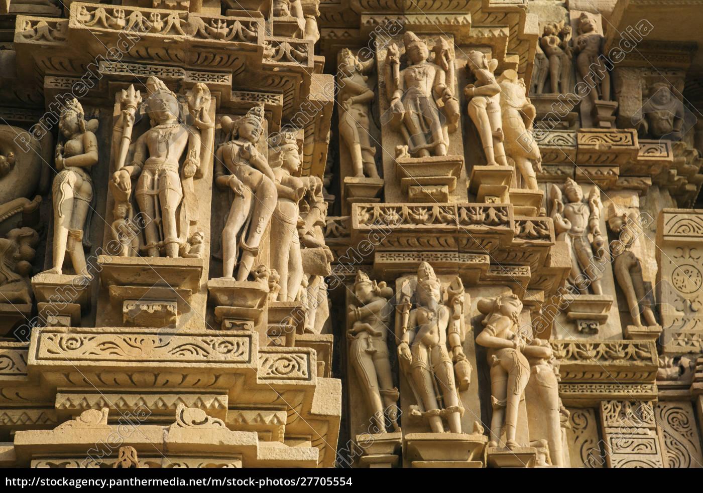 esculturas, eróticas, de, khajuraho, madhya, pradesh, india. - 27705554