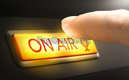 on air sign radio studio concept