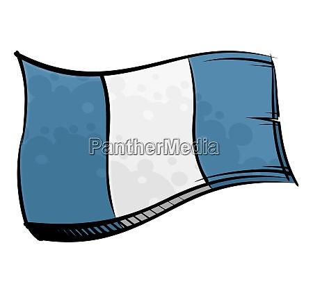 bandera pintada de guatemala ondeando en