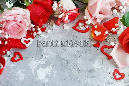 red roses flowers petals and hearts