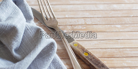 fork and knife with napkin