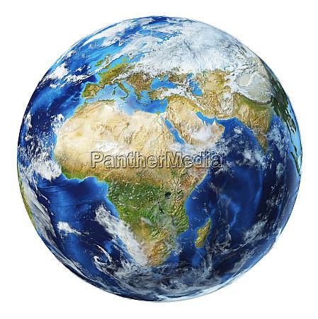 ilustracion 3d del globo terraqueo de