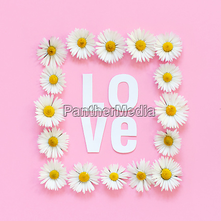 rectangular floral frame and text love