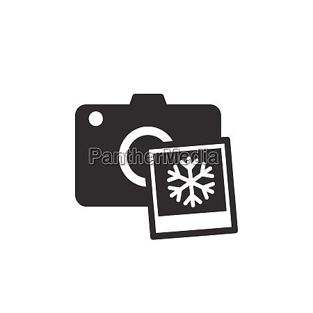 camera with winter snowflake photo black